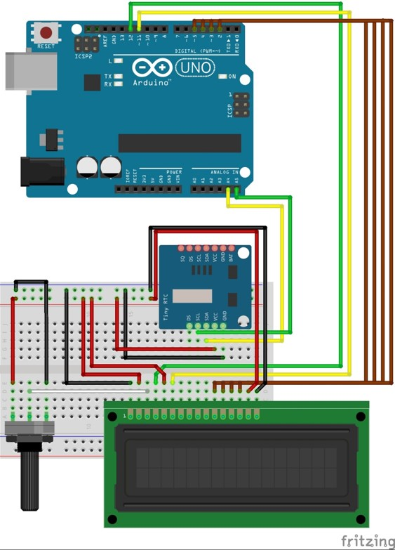 Arduino klok project fritzing