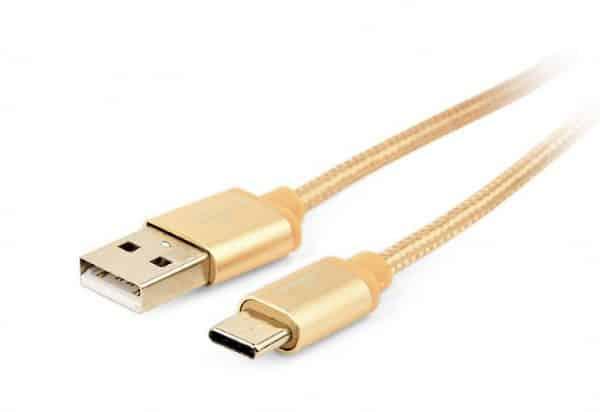 Goud gevlochten usb c kabel