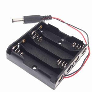 4 aa batterij houder met dc barrel jack