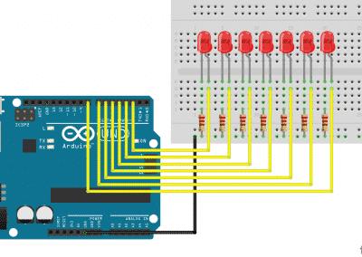 Arduino Knight Rider Fritzing schema