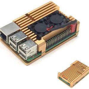 Heatsink case met fan RPI 4 Goud