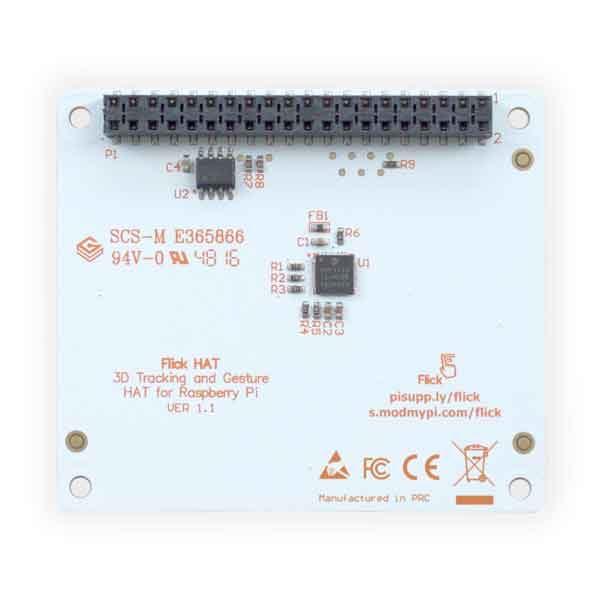 Flick - 3D Tracking & Gesture Sensor HAT achterkant
