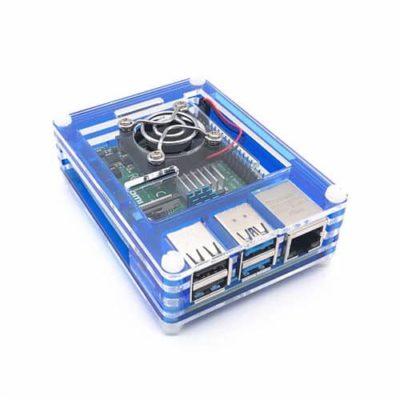 Boîtier acrylique Bleu Transparent Raspberry Pi 4
