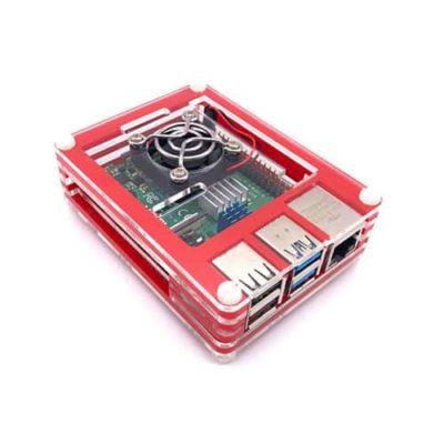 Boîtier acrylique Rouge Transparent Raspberry Pi 4