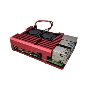 Raspberry Pi 4 Heatsink case met fan rood