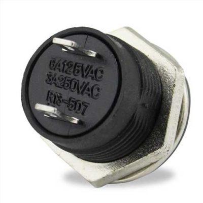 Bouton poussoir à impulsion 16 mm noir