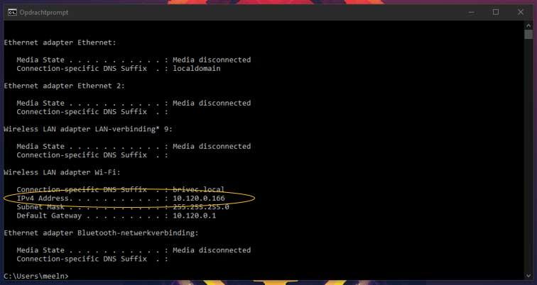 Hier zie je de resultaten van ipconfig. Zoek je IPv4 Adress en schrijf deze op.