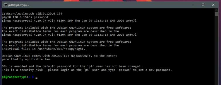 Hier vul je het wachtwoord van de Raspberry Pi in.