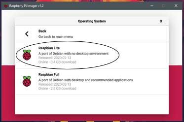 Hier kun je kiezen tussen Raspbian Lite en Raspbian Full. Wij kiezen voor Lite.