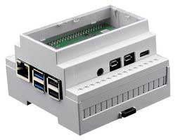 Hier zie je de DIN Rail case met Raspberry Pi